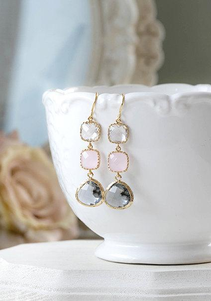 Wedding - Blush Pink Grey Clear Crystal Earrings Opalite Pink Gray Gold Framed Glass Long Dangle Earrings Pink and Gray Wedding Bridesmaid Gift