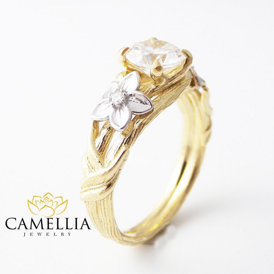 Round Moissanite Engagement Ring 14k Two Tone Gold Twig Ring Floral  Engagement Ring