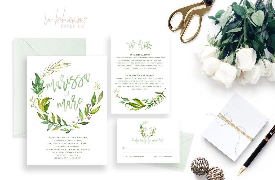 Hochzeit - Printable Wedding Invitation Suite / Wedding Invite Set - The Monogram Wreath Suite
