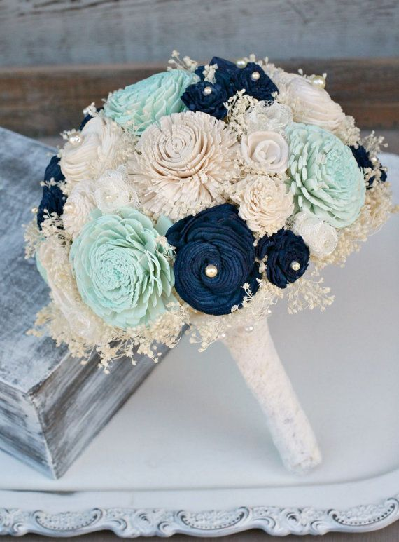 Düğün - Mint And Navy Bridal Bouquet, Navy And Mint, Wedding Flower Bouquet, Sola Bouquet, Babys Breath Bouquet, Bridal Bouquet, Lace Flower Bouquet