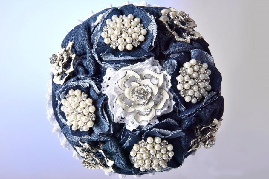 Mariage - jeans brocheboeket, brooch bouquet , wedding flowers