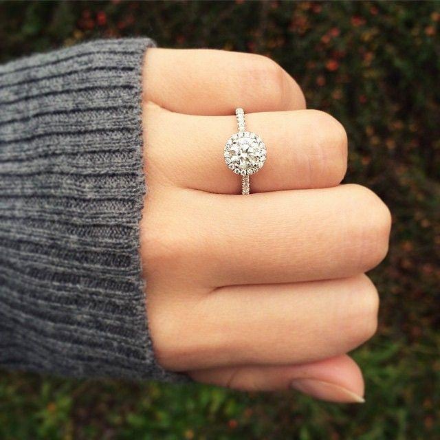 Wedding - 14K White Gold Pave Halo And Shank Diamond Engagement Ring (Round Center)