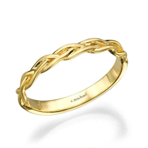 59ffcbe66 Braided Ring, 14k Yellow Gold Ring, Wedding Ring, Wedding Band, Woman Ring,  Delicate Ring, Promise Ring, Statement Ring, Braided Band, Rings