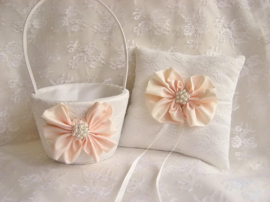 fea27c07b1ae SUMMER SALE Flower Girl Basket Set, Ring Bearer Pillow, Blush Bows Flower  Girl Basket Set Wedding Pillow Elegant and Classic
