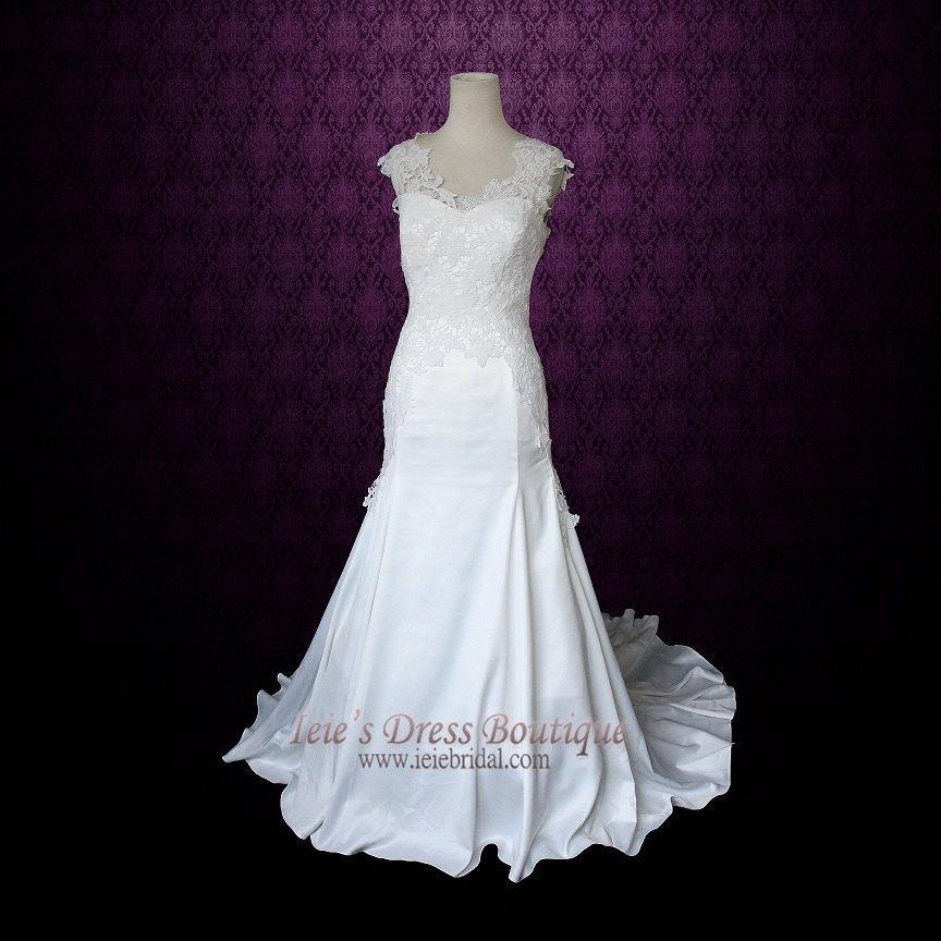 Wedding - Ivory Lace Wedding Dress with Cap Sleeves