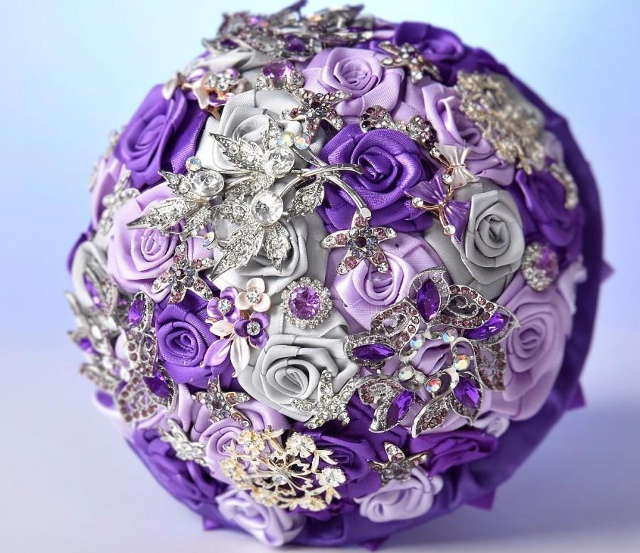 Свадьба - purple wedding brooch bouquet, fabric purple flowers