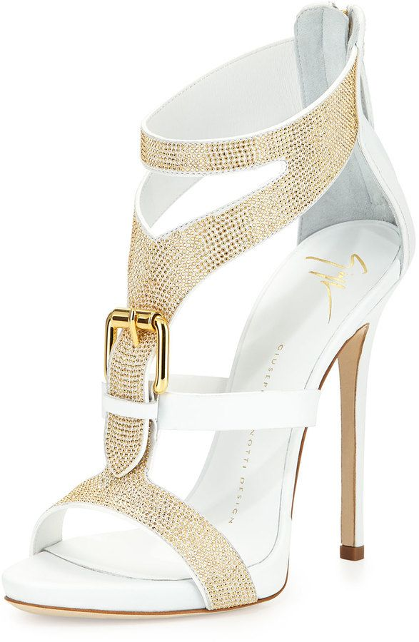 Свадьба - Strass Buckle Leather Sandal, Bianco