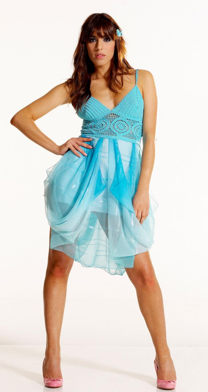 Turquoise Formal Dress Crochet Bodice Draped Chiffon Skirt ...