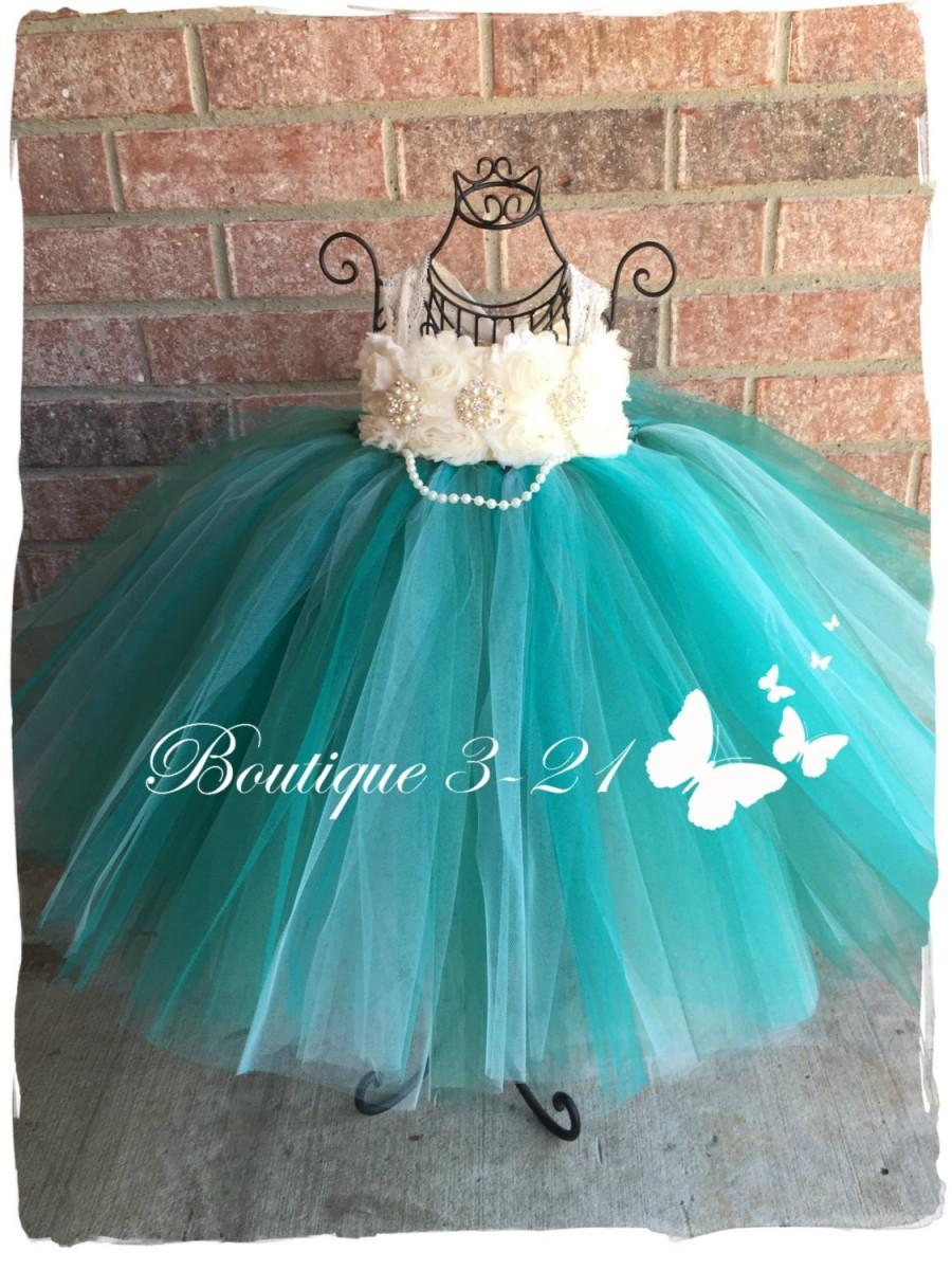 Jade Flower Girl Dress, Jade Tutu Dress, Teal Flower Girl Dress ...