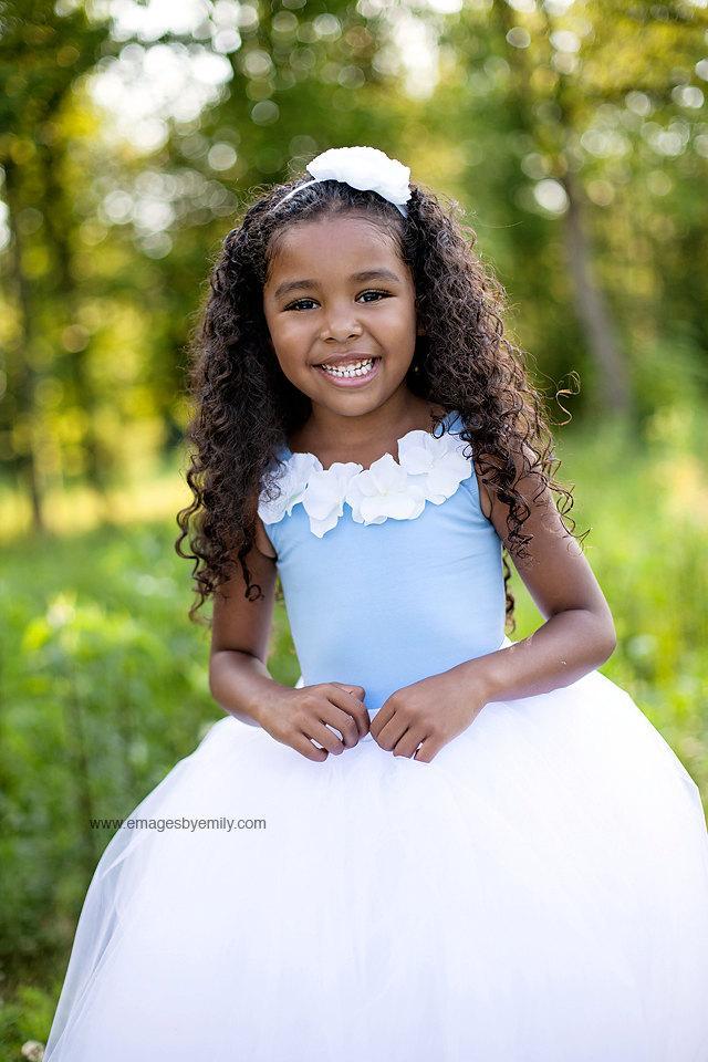 Wedding - Children's leotard, toddler leotard, Blue Flower Girl Top