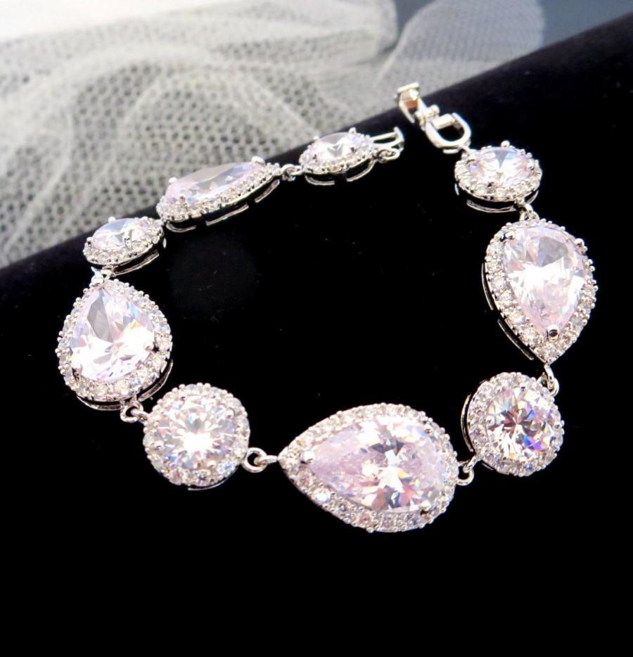 Crystal Bridal Bracelet Cubic Zirconia Wedding Bracelet Tennis