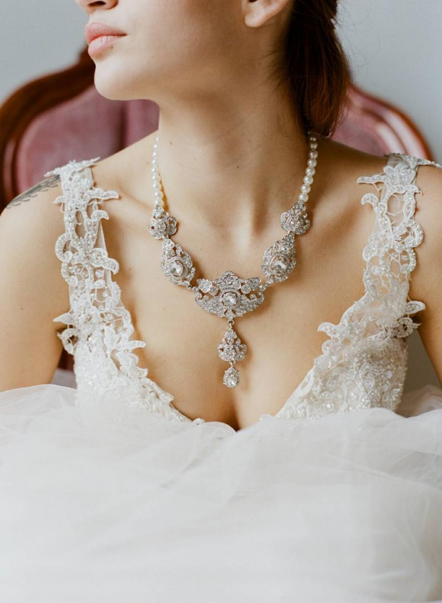 Свадьба - Bridal Statement Necklace -KATHERINE, Swarovski Crystal and Pearl Necklace, Pearl Drop Necklace, Royal Jewels Necklace