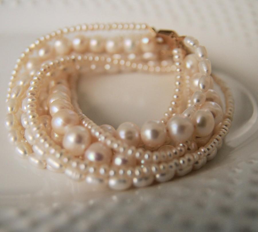 Свадьба - Multi White Strand Pearl Bracelet/ Boho Pearl Bracelets/ Bare and Me Handcrafted Pearl Bracelet/ Pearl Strand Bracelet/ Wedding Jewelry/