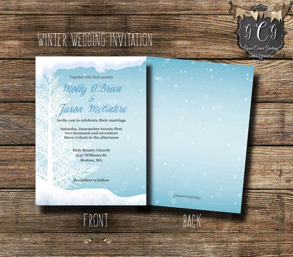 Hochzeit - Ice Blue Winter Wedding Invitation,Tree Wedding Invitations,Winter Wedding invitations, Christmas Wedding,Winter invitations,Bling invite