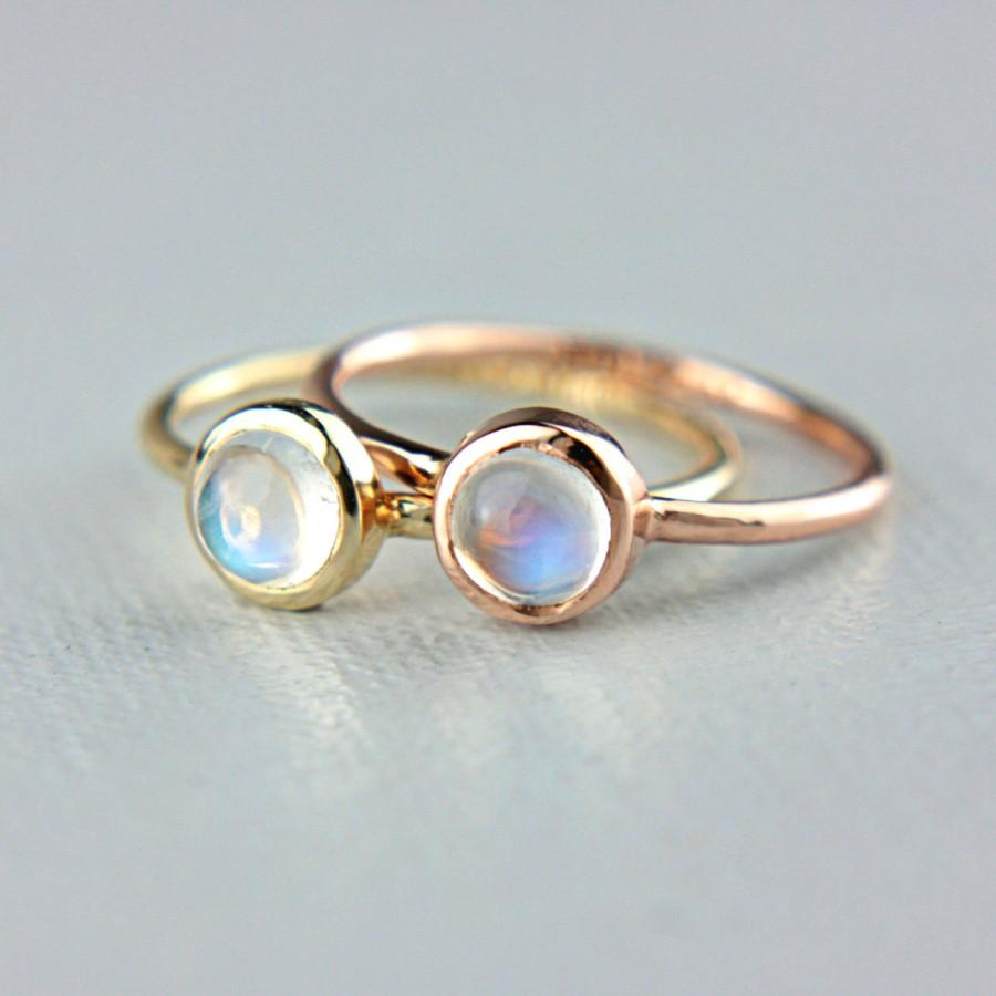 moonstone gold ring 14k yellow rose white gold rainbow
