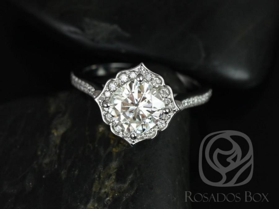 Свадьба - Rori 7mm 14kt White Gold Cushion FB Moissanite and Diamond Kite Halo WITHOUT Milgrain Engagement Ring (Other metals and stones available)