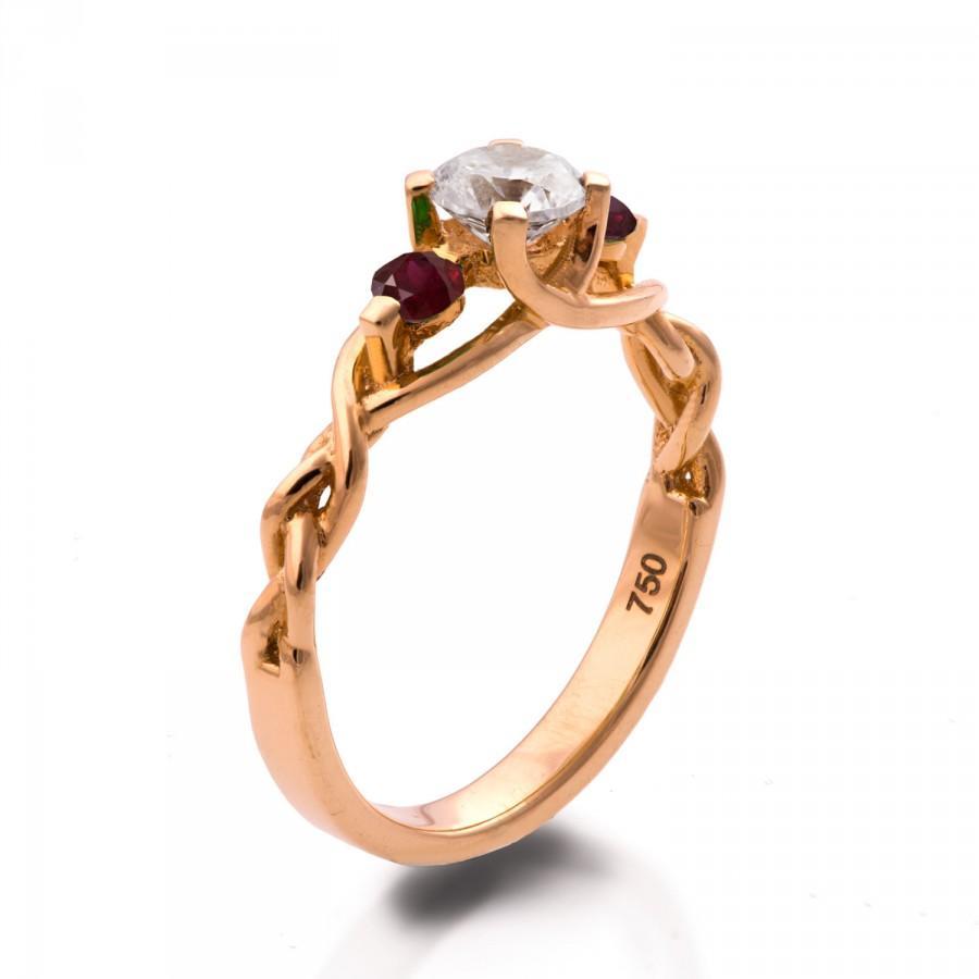 زفاف - Braided Engagement Ring - Diamond and Rubies engagement ring, rose gold diamond ring, engagement ring, celtic ring, three stone ring, 7