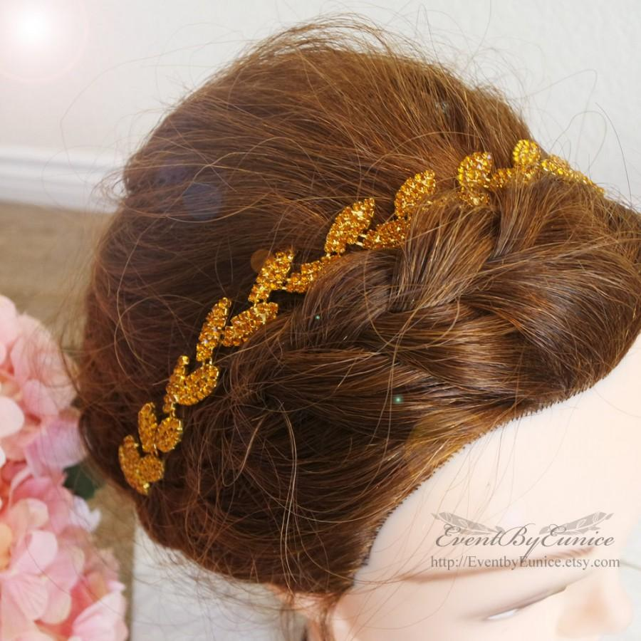Свадьба - Bridal Gold Headpiece, wedding headpiece, bridal headband, wedding headband with comb, Leaf Headpiece, rustic bridal headpiece Leafy Gold