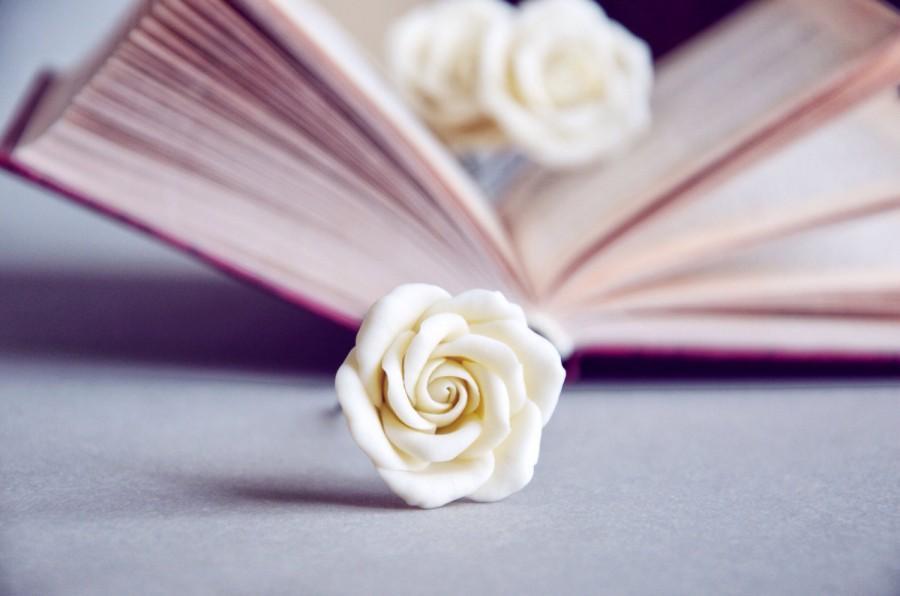 Свадьба - Ivory wedding hair pins, ivory hair flowers, rose flower jewelry, rose hair pins, set of 3 pins, ivory rose hair, ivory hair pins
