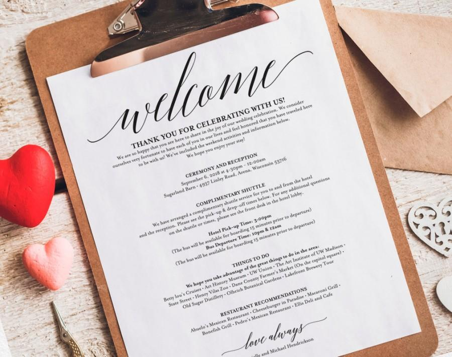 Wedding Itinerary, Welcome Bag, Printable Itinerary, Welcome Letter ...