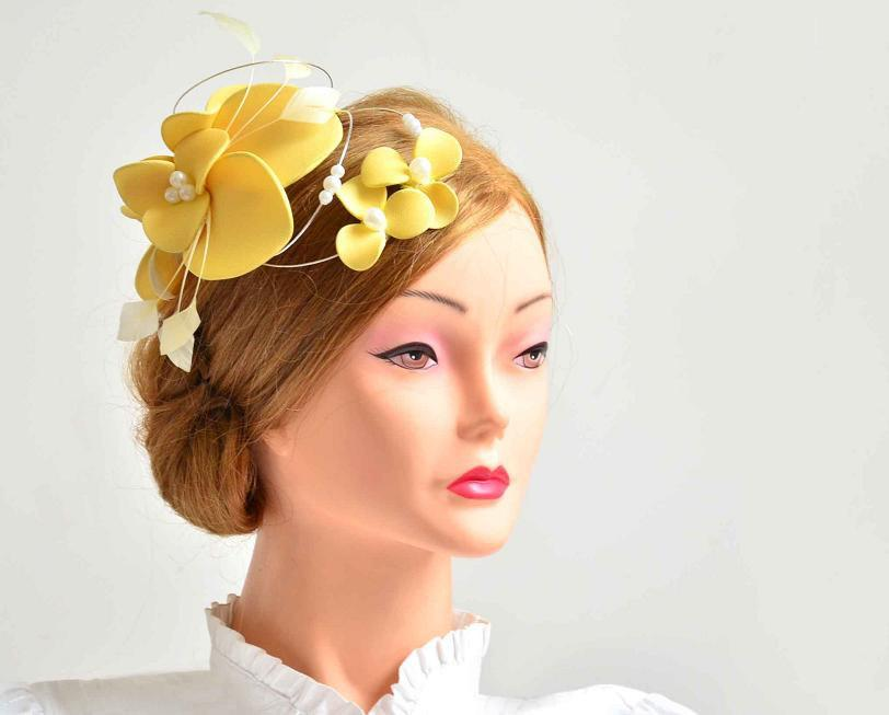Large Yellow Fascinator Hat Yellow Wedding Headpiece Flower