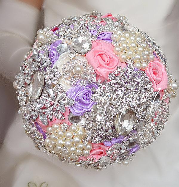 Mariage - SALE! Pink Wedding Brooch Bouquet, lavender and Silver Wedding Bouquet, Bridal Bouquet, Jeweled Bouquet, Crystal Bouquet, lilac Bouquet