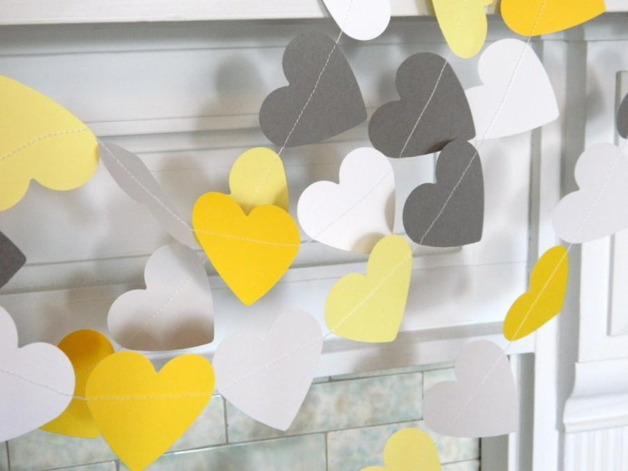 Mariage - Yellow & Gray Paper Hearts / Gray and Yellow Wedding garland / yellow and gray Bridal Shower Decorations / heart garland pick your colors