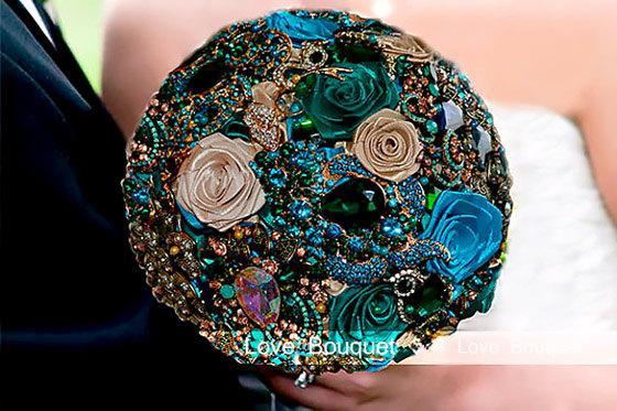 Wedding - Wedding Bridal Bridesmaid Brooch Bouquet, Peacock Wedding Bouquet, Jewelry Bouquet, Emerald Bouquet, Rose Wedding Bouquet,Rhinestone Bouquet