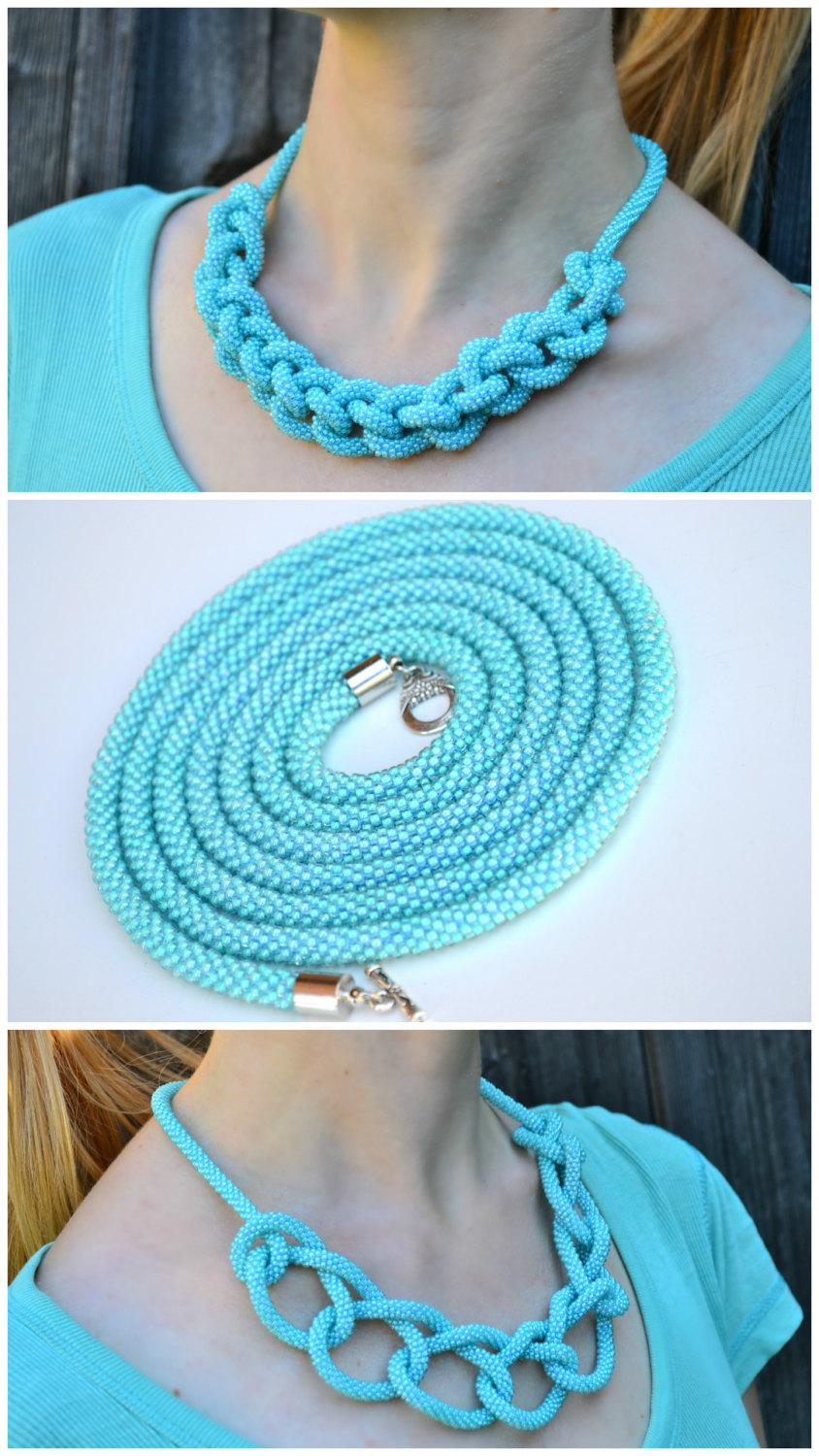 Wedding - Turquoise mint long beaded crochet rope lariat necklace. Spiral rope chocker beadwork statement necklacework statement necklace
