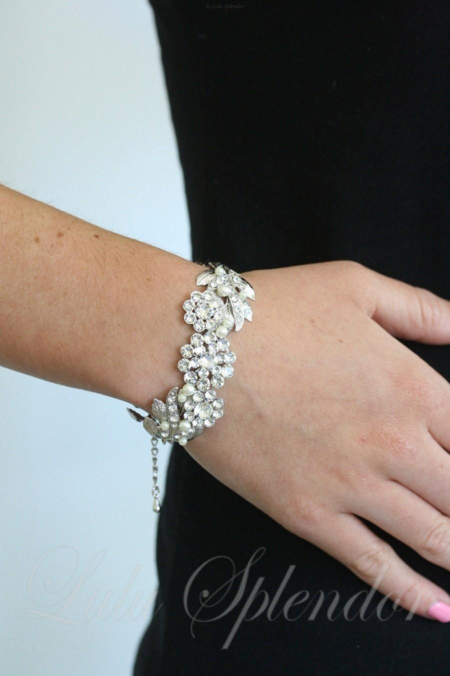 Hochzeit - Wedding Cuff Bracelet Swarovski Crystal Vintage Leaf Bracelet Leaves Jewelry Bridal MIER CRYSTAL