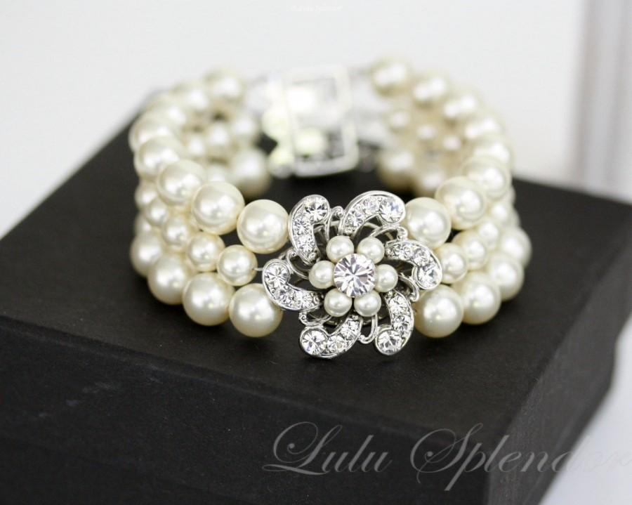 Mariage - Pearl Wedding Bracelet  Wedding Cuff Bracelet  Bridal Bracelet Pearl  Flower Bracelet  Vintage Wedding Jewelry  SABINE CLASSIC BL