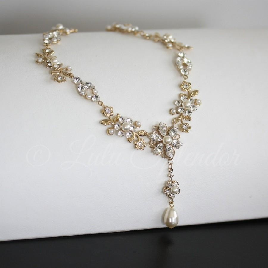 Gold Wedding Necklace Gold Crystal And Pearl Bridal Necklace Leaf ...
