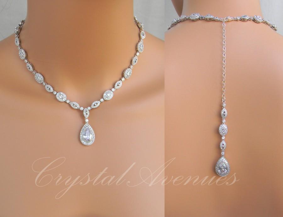 زفاف - Back drop Bridal necklace, Rose Gold Wedding Necklace, Swarovski, Rose Gold Bridal Jewelry, Wedding Jewelry, Christine Drop Necklace