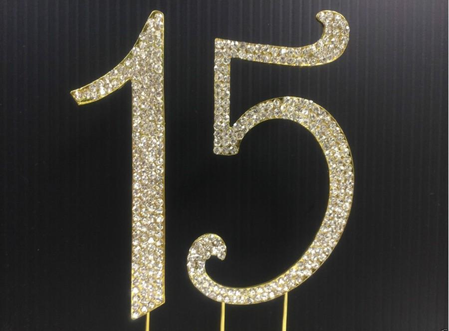 Hochzeit - Gold  Rhinestone NUMBER (15) Cake Topper 15th for Birthday Parties FREE SHIPPING