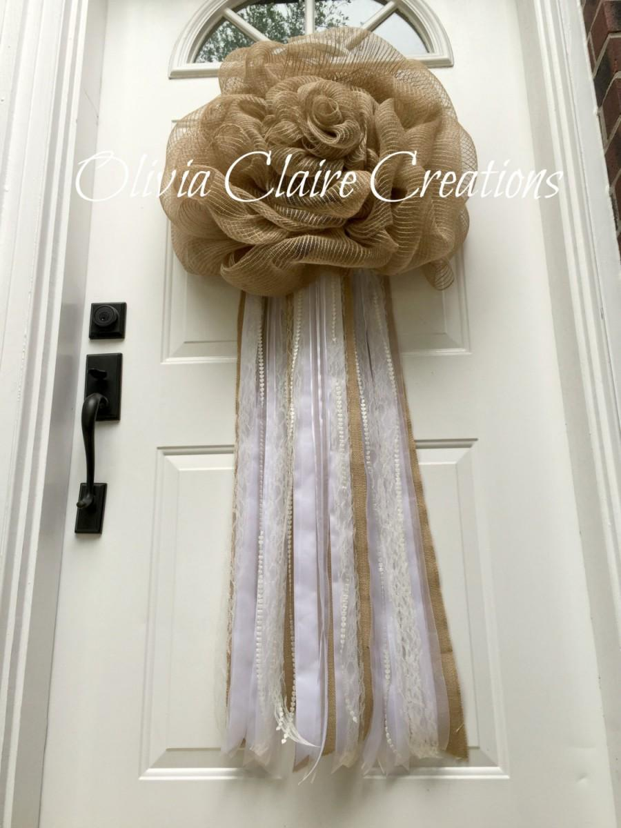 Burlap Wreath, EXTRA LONG . Mesh Wedding Door Hanger, Bridal Or Anniversary  Wreath For A Rustic, Shabby Chic Or Country Style Event.