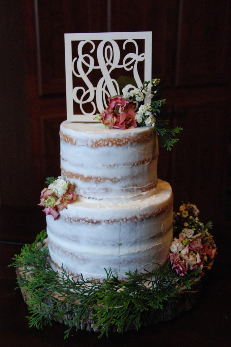 Hochzeit - Monogram Cake Topper - Unpainted Wooden Cake Topper - Wedding Cake Topper - Initial Cake Topper
