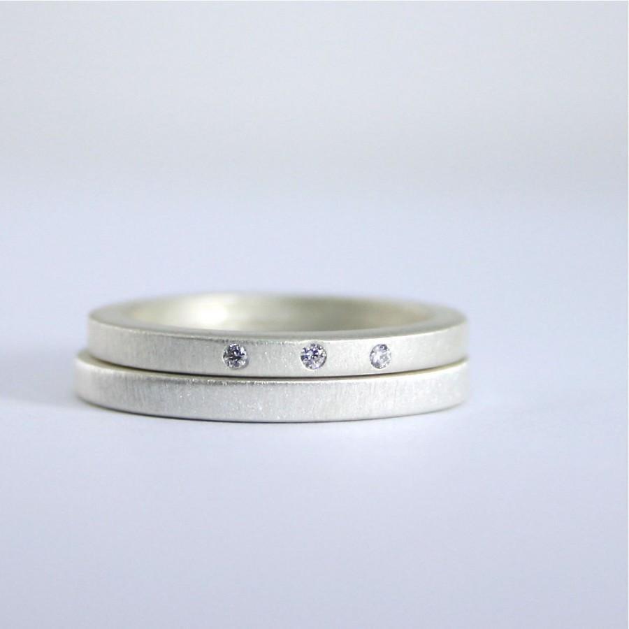 Three Diamond Wedding Ring Set   Matte Finish Sterling Silver   Eco Friendly    Modern   Diamond Engagement Rings   Wedding Rings