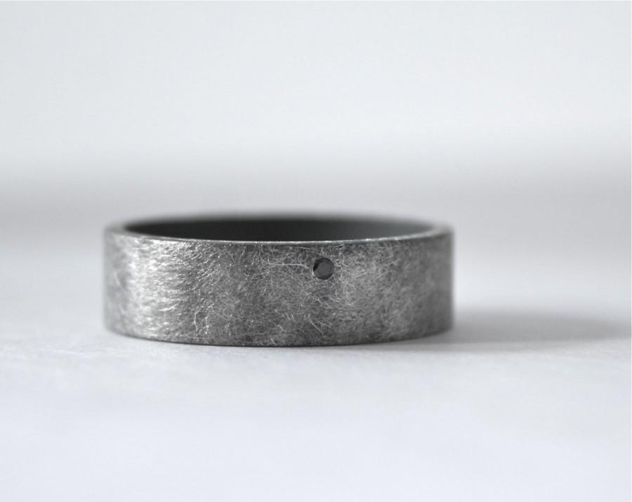 Black Diamond Ring Wedding Band For Men Women Oxidized Sterling Silver