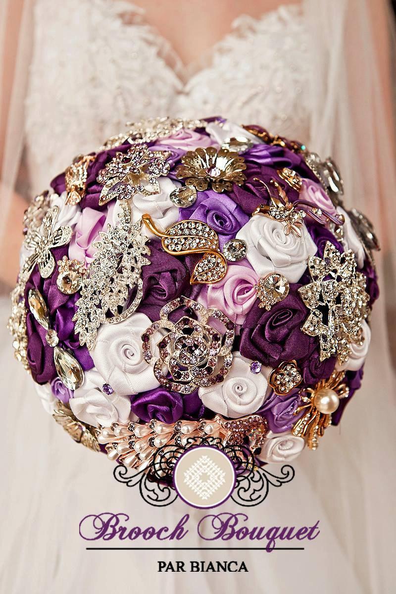 Purple Brooch Bouquet Jeweled Peacock Bridal Wedding Roses Rose Custom