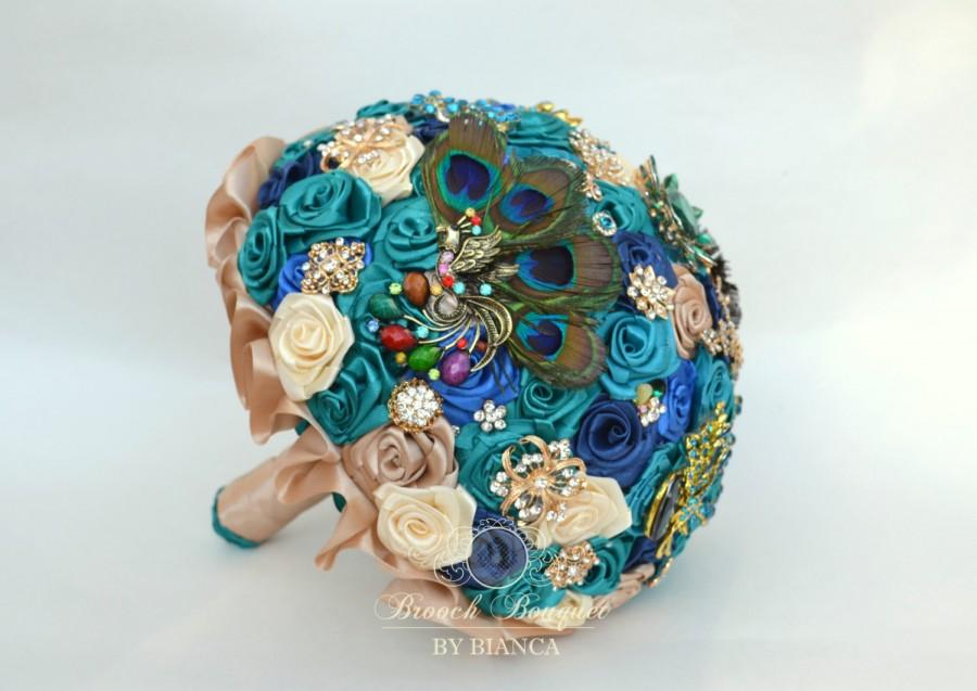 Wedding - Brooch bouquets, Peacock brooch bouquet, Teal bouquet, Turquoise bouquet, Wedding bouquet, Alternative bouquet, Jeweled bouquet, Crystals