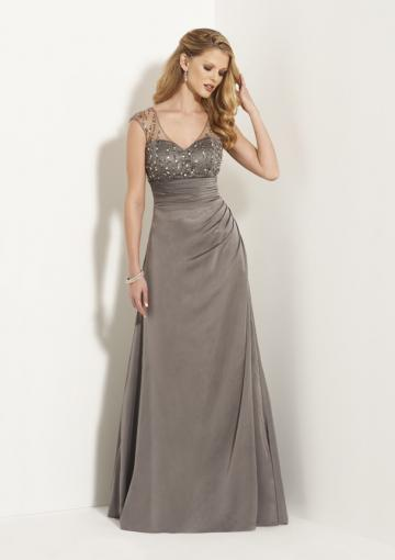 Wedding - V-neck Zipper Chiffon Tulle Crystals Grey Ruched Sleeveless Floor Length