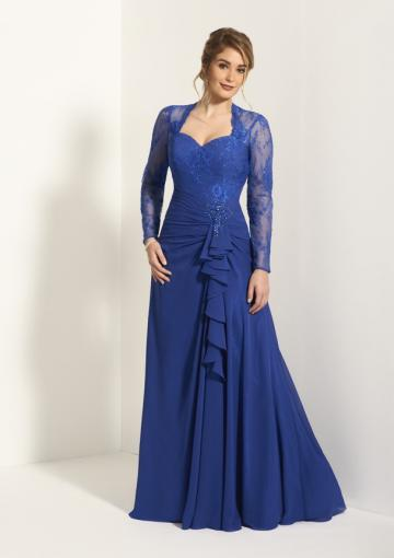 Свадьба - Sweetheart Zipper Appliques Chiffon Lace Ruched Long Sleeves Blue Floor Length