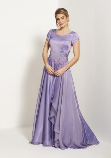 Wedding - Scoop Purple Short Sleeves Zipper Ruched Chiffon Court