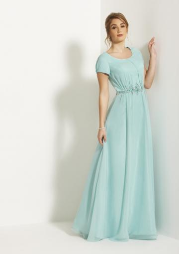 Boda - Scoop Short Sleeves Light Blue Zipper Ruched Chiffon Floor Length