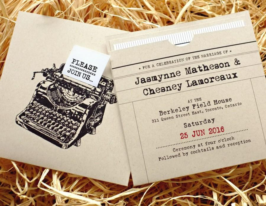 Retro Typewriter Wedding Invitation With Insert Pocket Recycled Kraft Paper Date Stamp Antique Vintage Fun Chic What A Clic