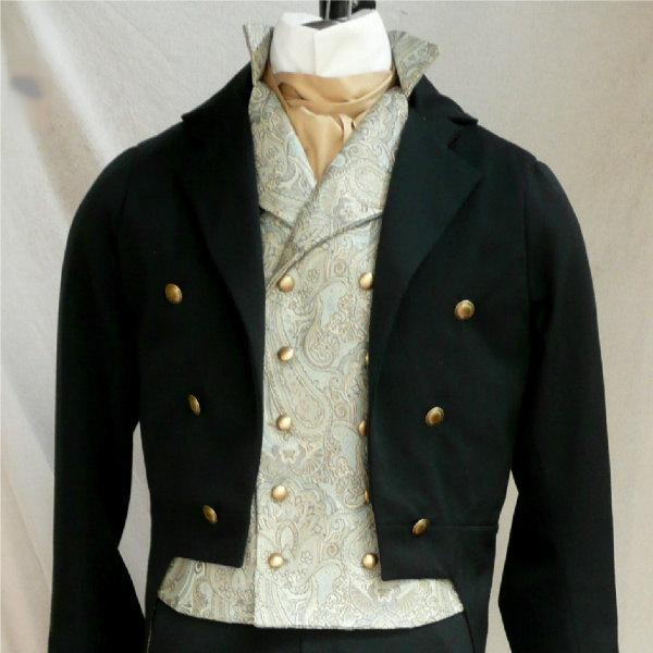 Mariage - Mans English Regency Wool and Velvet Tailcoat Groom's Wedding Tux French Empire Formal Eveningwear Art Deco Tailcoat