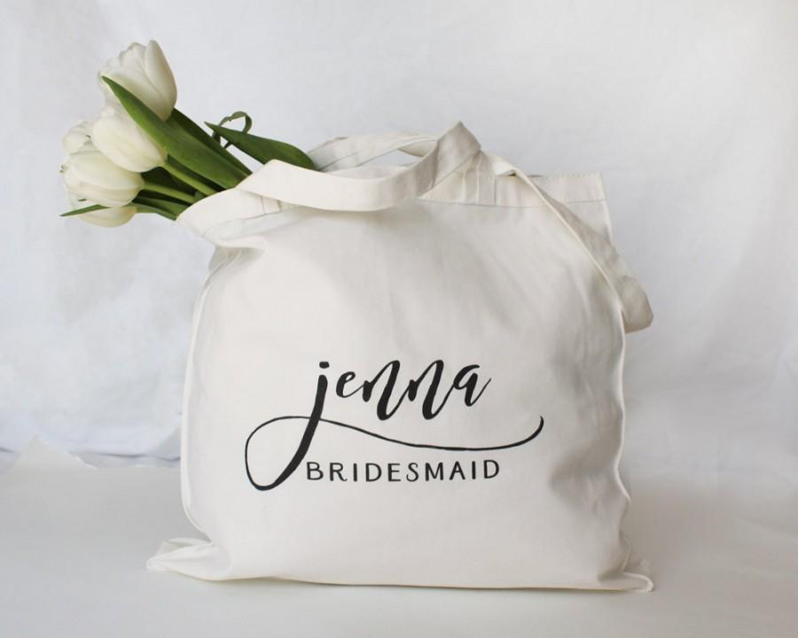 Свадьба - Personalized Bridesmaid Tote, Personalized Bridesmaid Bag, Personalized Maid of Honor Bag, Custom Tote Bag, Personalized Wedding Party Bag