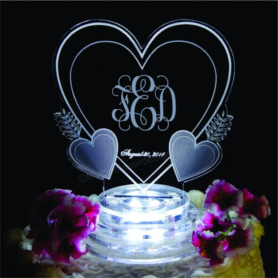 Vine Monogram Triple Heart Lighted Wedding Cake Topper Acrylic Top Custom Engraved