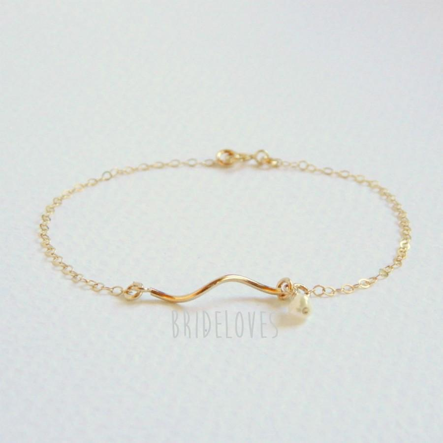 Wave Bar Bracelet Bridesmaid Dainty Gold Pearl Gift Mother Of The Bride Delicate