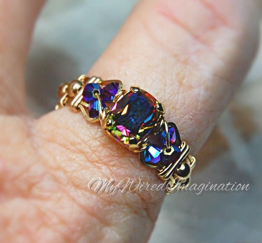 Mariage - Vitrail Dark Vintage Swarovski Crystal Hand Crafted Wire Wrap Ring in 14k GF or Sterling Fine Jewelry Signature Design Unique Engagement